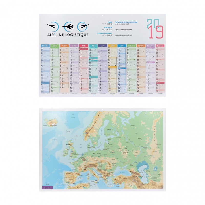 Calendrier 13 mois sur 1 face - Calendrier - marquage logo