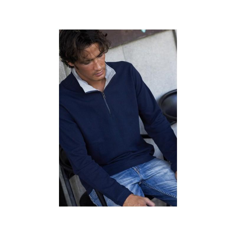 Sweat-shirt homme col zippé Trucker - Sweat-shirt - objets publicitaires