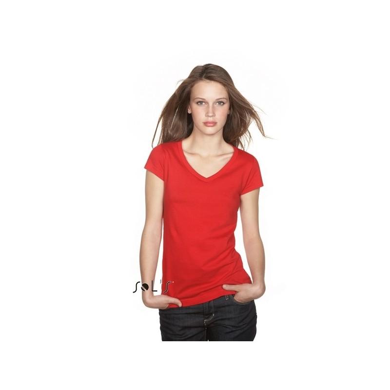 T-shirt Moon col V pour femme  - T-shirt manches courtes - publicité par l'objet
