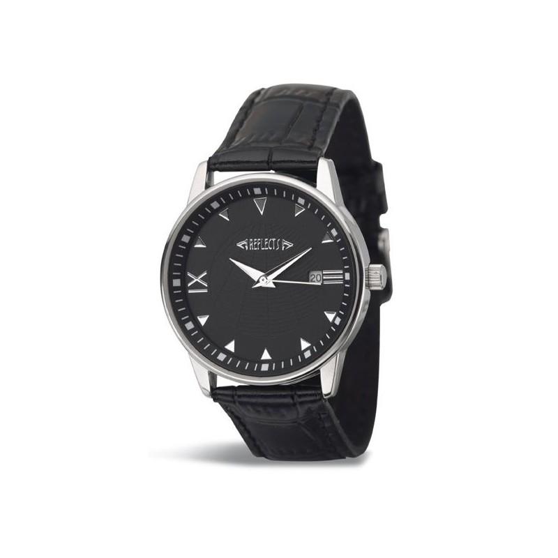 Montre classique bracelet noir - Montre classique publicitaire