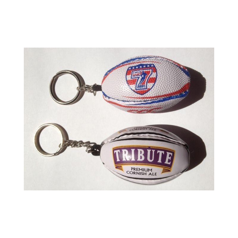 Porte-clés ballon de rugby publicitaire personnalisable - porte-clés sport publicitaire