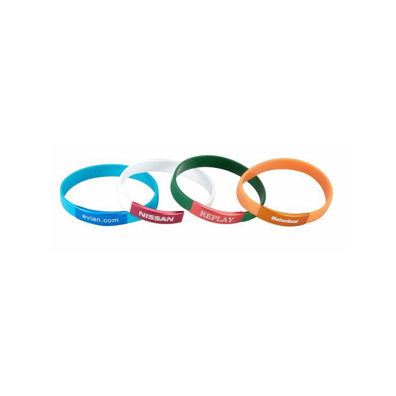 Bracelet silicone publicitaire avec plaque alu - Bracelet en silicone publicitaire - produits incentive