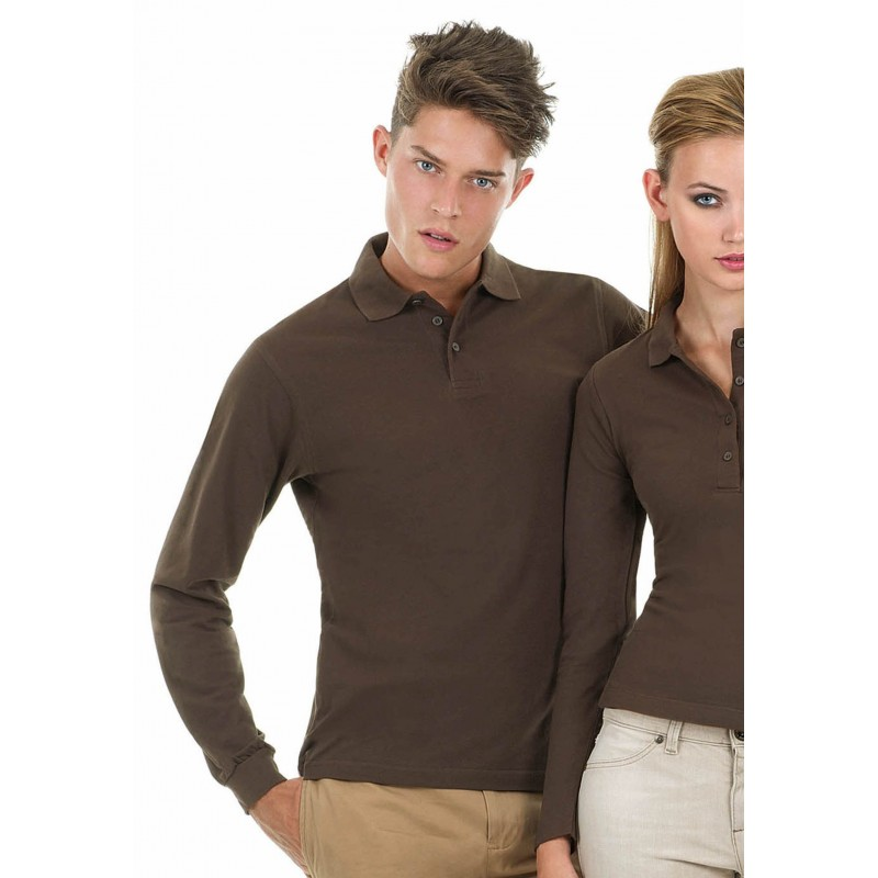 Polo homme manches longues Safran B&C - Polo homme - marquage logo
