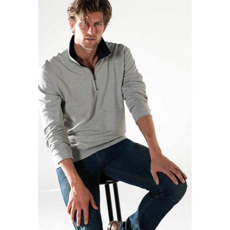 Sweat-shirt homme col zippé Trucker - Sweat-shirt - objets promotionnels