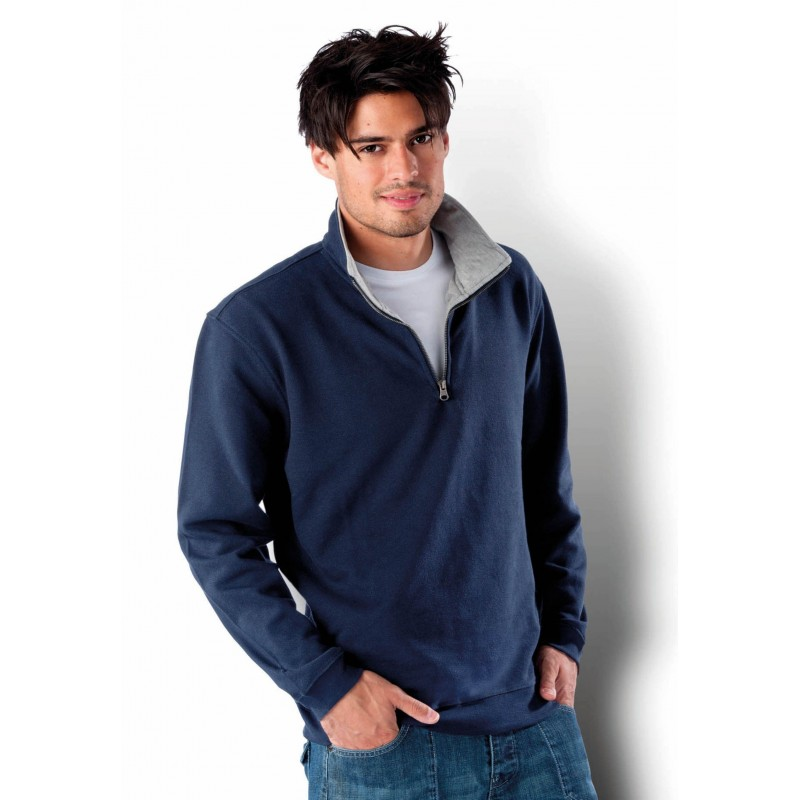 Sweat-shirt homme col zippé Trucker - Sweat-shirt - cadeaux d'affaires