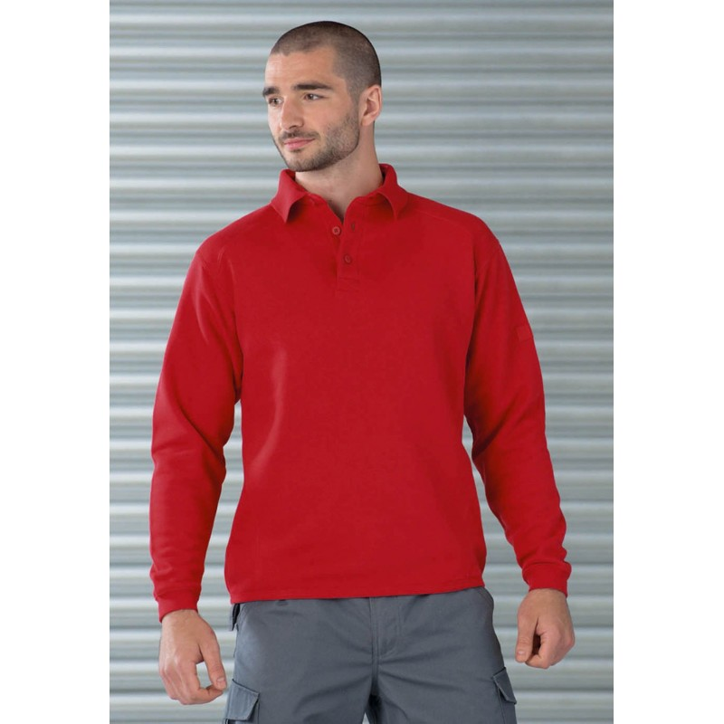 Sweat-shirt à col polo Workwear Russell - Sweat-shirt publicitaire sur mesure
