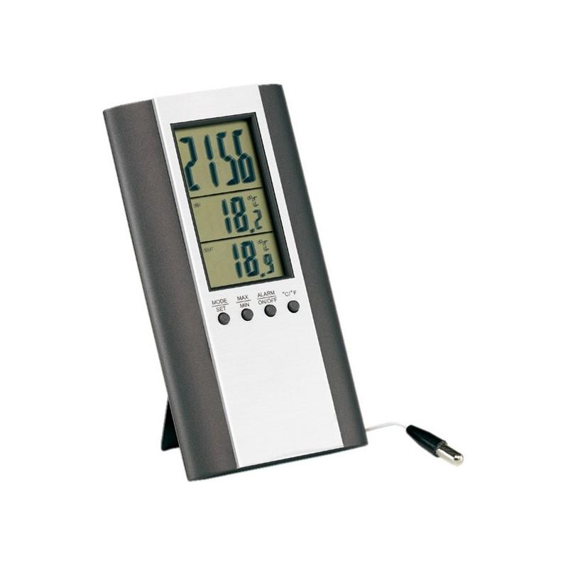 Thermomètre intérieur / extérieur - Horloge multifonctions personnalisé