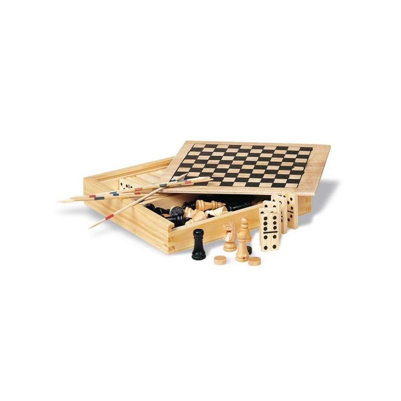 4 jeux dans une boîte en bois - Jeu de société publicitaire