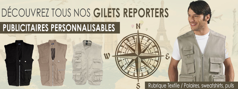 Gilets reporter personnalisables