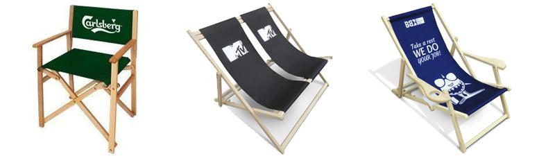 chaises longues publicitaires